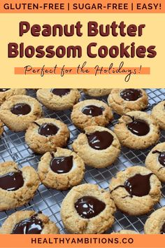 Peanut butter blossom cookies have been made gluten-free AND sugar-free with a few, quick and easy, swaps! I used almond flour, monk fruit, homemade peanut butter, and sugar-free chocolate to bring this holiday favorite to your low-carb life! #healthyambitions #glutenfreecookierecipes #peanutbutterblossomcookies #glutenfree #sugarfree Gluten Free Cookie Recipes, Gluten Free Peanut Butter, Gluten Free Brownies, Homemade Peanut Butter, Gluten Free Snacks, Gluten Free Pumpkin, Gluten Free Cookies, Peanut Butter Blossom Cookies, Gluten Free Crackers