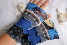 Blue striped mittens Hippie Boho gloves Gray by Nazcolleccolors