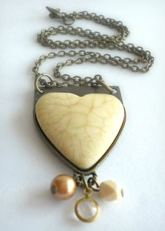 Large Heart Charm Necklace on Antique by theblackstarboutique, $18.00