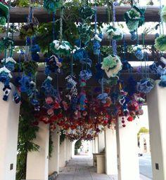 yarn bombers in downtown Ojai