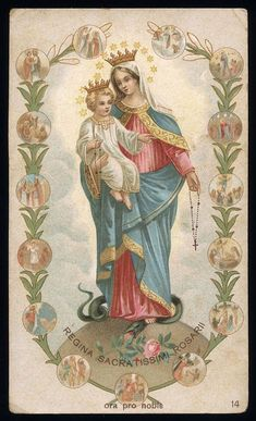 King of the Angels with His Mom. Blessed Mother Mary, Blessed Virgin Mary, Catholic Prayers, Catholic Art, Religious Icons, Religious Art, Vintage Holy Cards, Jesus Christ Images, Christian Artwork