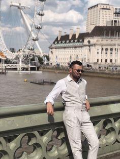 Mekiamis Giannis | Fire meet Gasoline |, awarded blogger by Marie Claire Greece , enjoying London in his ARISTOTELI BITSIANI PinStripe look.