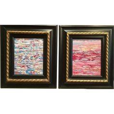 Pair 'Abstract Land & Sea Pinks Blues Impasto Color Study II', Original Oil Paintings by artist Sarah Kadlic, Framed 15x17'