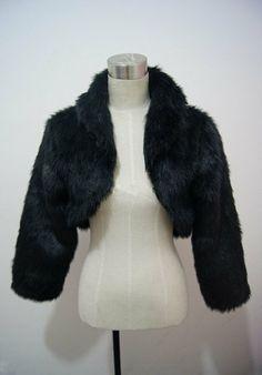 Black or  Ivory Faux Fur Wrap Shrug Bolero Coat Bridal Shawl Accessories Free shipping on Etsy, $36.00