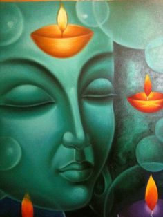 Hand Painting of Buddha - Oil on Canvas by a local artist, employed with our studio
