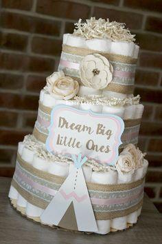 3 Tier Boho Diaper Cake, Tribal Baby Shower, Boho Baby Shower, Tribal Diaper Cake, Aztec, Shabby, Rustic, Centerpiece, Teepee, Dream Big