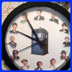 Dr Who Doctor wall clock 9 inch diameter by on Etsy Doctor Who Bedroom, White Wall Clocks, Fandoms, Time Lords, Blue Box, Funny Love, Dr Who, My New Room, Superwholock