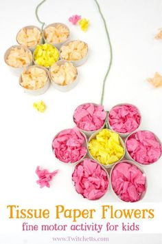 This tissue paper flowers activity helps to strengthen your child's fine motor skills while creating a fun flower craft! Fine Motor Activities For Kids, Spring Activities, Easy Crafts For Kids, Summer Crafts, Toddler Crafts, Toddler Activities, Playgroup Activities, Physical Activities, Family Activities