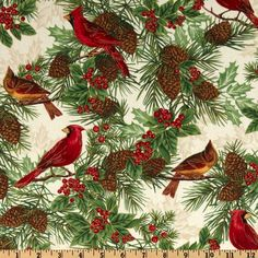 Timeless Treasures Season's Greetings Winter Cardinal Ivory from @fabricdotcom  From Timeless Treasures, this cotton print fabric is perfect for quilting, craft projects, apparel and home decor accents. Colors include red, brown, black and green on an ivory background with metallic gold accents throughout.