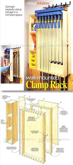 Wall Mounted Clamp Rack Plans - Workshop Solutions Projects, Tips and Tricks | WoodArchivist.com