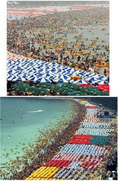 An incredible picture of Haeundae Beach in Pusan, South Korea.