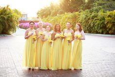 Yellow Bridesmaids.  Yellow Panama Wedding by Chloe Moore Photography
