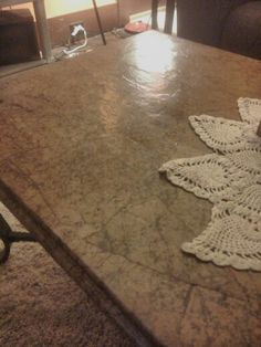 Brown craft paper covered coffee table