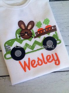 Personalized Bunny in Truck Easter Applique by LauraKateMonograms