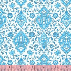 "44"" wide, 100% cotton. Note: price is per yard and there is a minimum of 1 yard.  SKU Y41403 Vintage Blue Damask    OUT OF STOCK!"