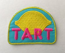 TART LEMON Retro Embroidered Patch Iron On Applique NEW NWT
