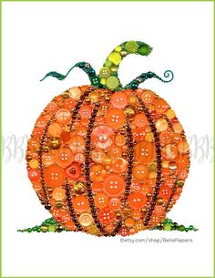 Autumn crafts Pumpkin Patches - Fall Decorations Pumpkin Decorations Button Art Pumpkin Buttons Pumpkin Art Button & Swarovski Jack o lantern harvest fall autumn halloween Autumn Crafts, Autumn Art, Holiday Crafts, Fall Halloween, Halloween Crafts, Button Canvas, Button Button, Moldes Halloween, Thanksgiving Decorations