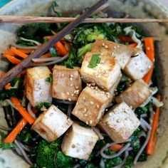 Ginger Citrus Tofu Salad with Buckwheat Soba Noodles