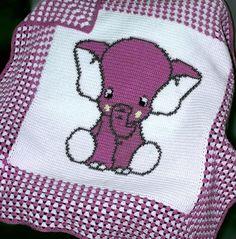 Crochet Pattern   Baby Blanket / Afghan - Blue Elephant