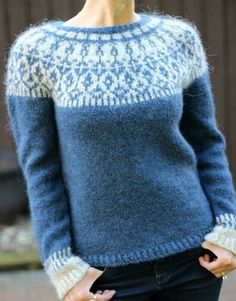 Round Neckline Floral Tight Regular Shift, Sweaters - Blue / S Knitting Daily, Knitting Yarn, Jumpers For Women, Sweaters For Women, Bind Off, Lang Yarns, Dress Gloves, Paintbox Yarn, Yarn Brands