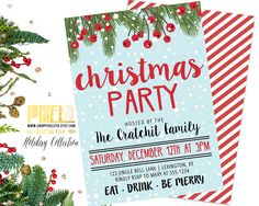 Candy Cane Christmas Party Invitation, Holly and Snow Invite, Holiday Party Snowflake, Blue and Red, Office Party, Country Christmas Garland by shopPIXELSTIX on Etsy