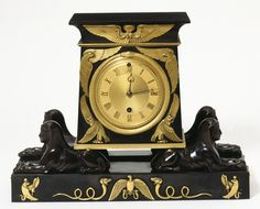 Style Guide: Regency Classicism - Victoria and Albert Museum Clock Vulliamy & Son Black marble, with dial and mounts of patinated and gilt bronze