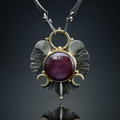 Star Ruby Centerpiece. Fabricated Sterling Silver, 18k and 22k. www.amybuettner.com https://www.facebook.com/pages/Metalsmiths-Amy-Buettner-Tucker-Glasow/101876779907812?ref=hl https://www.etsy.com/people/amybuettner http://instagram.com/amybuettnertuckerglasow