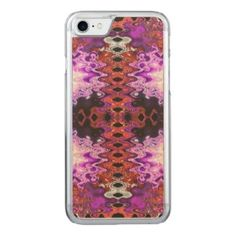 Beautiful Bright Purple Red Abstract Carved iPhone 7 Case #iphone #zazzle #artistic