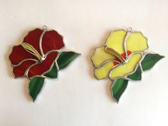 Handmade Stained Glass Hibiscus Suncatcher by QTSG on Etsy