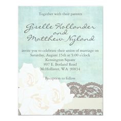 Mint and Cream Lace Rose Wedding Invitation