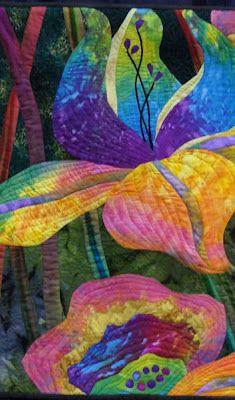 Jinny Lee Snowgoogle.com  Colorful Iris Appliqué Quilt