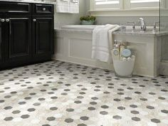 "Stunning Black & White bathroom!  Tile Floor in style ""Boca Hexagon Mosaic"" by  Shaw Floors"