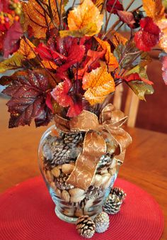 Gorgeous fall arrangement with pinecones by jacquelyn Christmas Centerpieces, Thanksgiving Decorations, Seasonal Decor, Christmas Decorations, Easter Centerpiece, Easter Decor, Fall Floral Arrangements, Fall Table, Fall Diy
