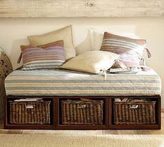 Stratton Daybed with Baskets #potterybarn ---May have to try to make me one of these!