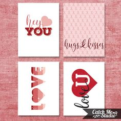 DIY Printable Valentine's Day Cards by CatchMeStudio on Etsy