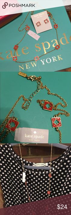 """NWT Kate Spade Red """"Hole Punch"""" Station Necklace New with Tags and comes with Kate Spade dust bag. Approximately 30"""" in length. This listing is for the gold tone with red spades but please see my closet for the same necklace in black, yellow, pink, and white.  The greatest thing about this authentic Kate Spade piece is that it can be be reversed and worn as all gold.  Retail price is $68. Comes with KS jewelry dust bag. kate spade Jewelry Necklaces"""