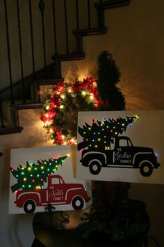 diy projects Canvas christmas gifts - Personalized Christmas Truck on Canvas Christmas Truck, Christmas Signs, Christmas Art, Christmas Projects, Winter Christmas, Light Up Christmas Decorations, Christmas Ideas, Christmas Lights Outside, Beautiful Christmas