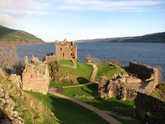A view of the Urquhart Castle grounds from the other side. Outlander, Lago Ness, Urquhart Castle, Eilean Donan, Scotland Travel, Over The Rainbow, The Other Side, Monument Valley, Places Ive Been