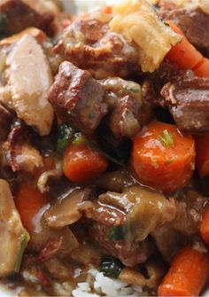 Oven Baked Beef and Mushrooms in Red Wine