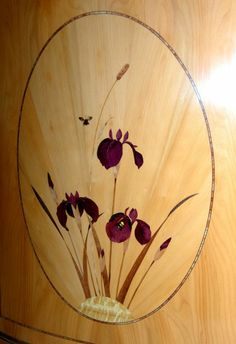 """Marquetry """"Irises"""" for a commode. Made with Shaw  Riley www.shaw-riley.co.uk"""