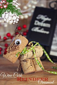 DIY Wine Cork Reindeer Ornament - C'mon Get Crafty