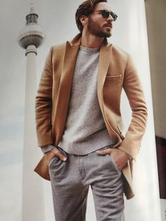 Bonobos Fall 15 - Camel topcoat, nomad terry sweatpants grey, great sweater