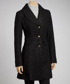 Take a look at this Black Pocket Wool-Blend Coat by Kenneth Cole on #zulily today!