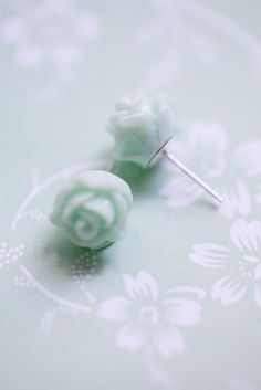 Mint Rose Earrings . Mint green