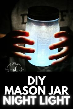 Help your kids conquer their nighttime fears with this super cute DIY Mason Jar Night Light! Get the full tutorial at MomDot.com! Mason Jar Crafts, Mason Jar Diy, Painted Mason Jars, Cute Diys, Night Light, Craft Supplies, Kids, Young Children, Boys