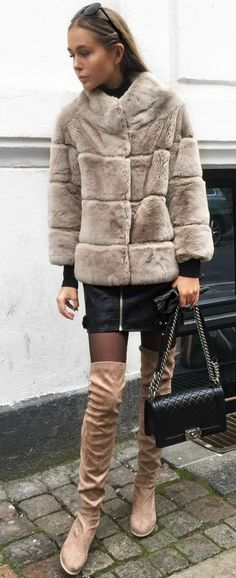 Maria Kragmann Faux Fur, Leather And Suede Fall Inspo #Faux Fur