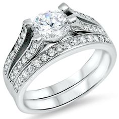 Sterling Silver wedding set CZ Round cut Engagement Ring size 5-10 Bridal New #Unbranded