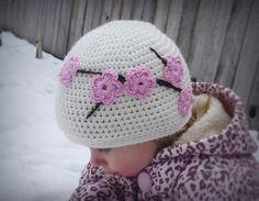 crochet cherry blossom hat pattern