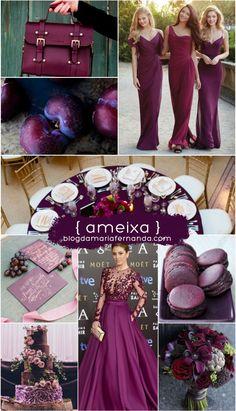 Decoração de Casamento : Paleta de Cores Ameixa | Wedding Inspiration Board Color Palette Plum | http://blogdamariafernanda.com/decoracao-de-casamento-paleta-de-cores-ameixa