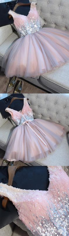 Hot Sales V Neck Homecoming Dress Sequin Short Prom Dresses Cute Dress Party Gowns LD542